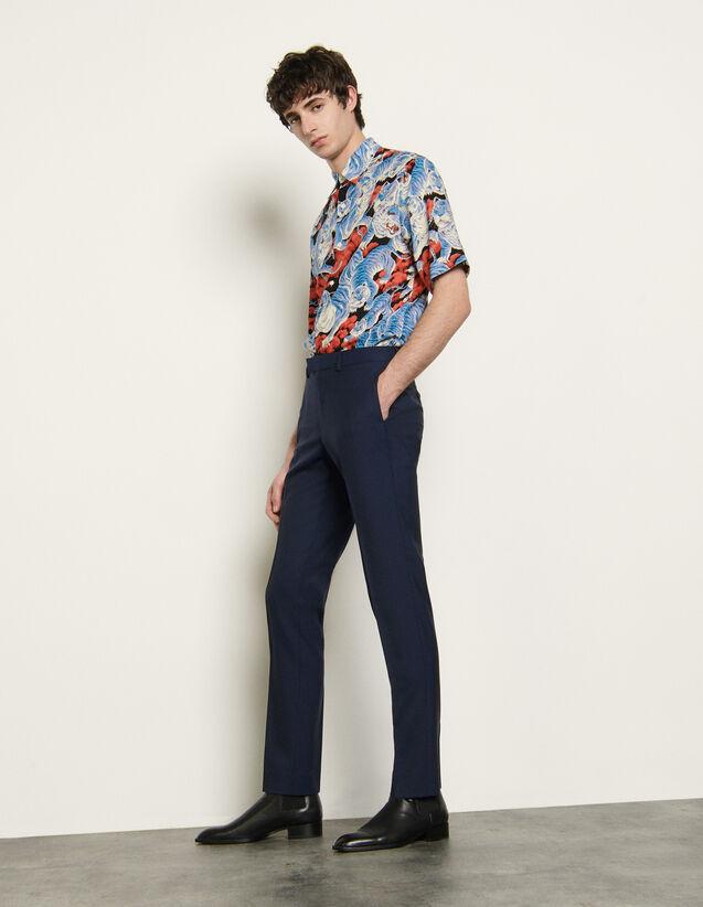 Pantalón de traje de lana fría : Trajes & Smokings color Azul