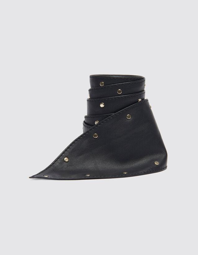 Cinturón Ancho Anudable Con Tachuelas : Cinturones color Negro