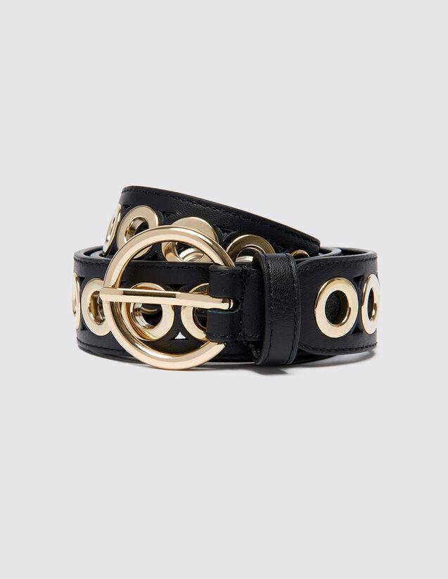 Cinturón, hebilla redonda y ojales : Cinturones color Negro