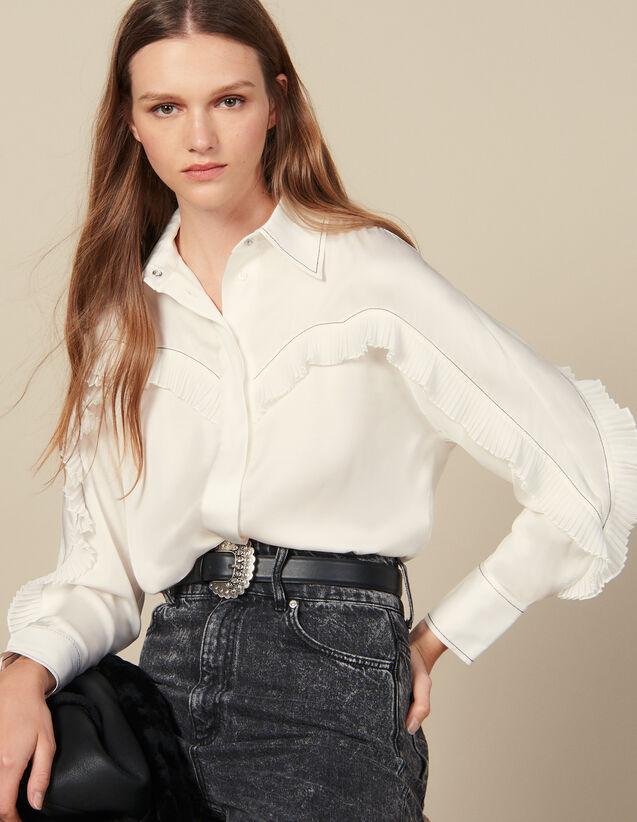 Camisa Con Cortes Estilo Wéstern : Tops & Camisas color Crudo