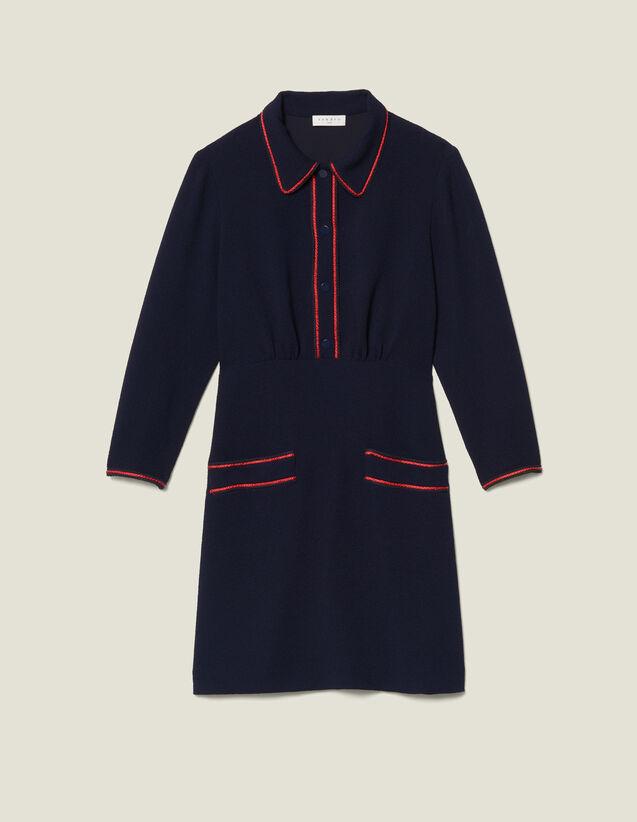 Vestido Texturado Con Pasamanos : Vestidos color Marino