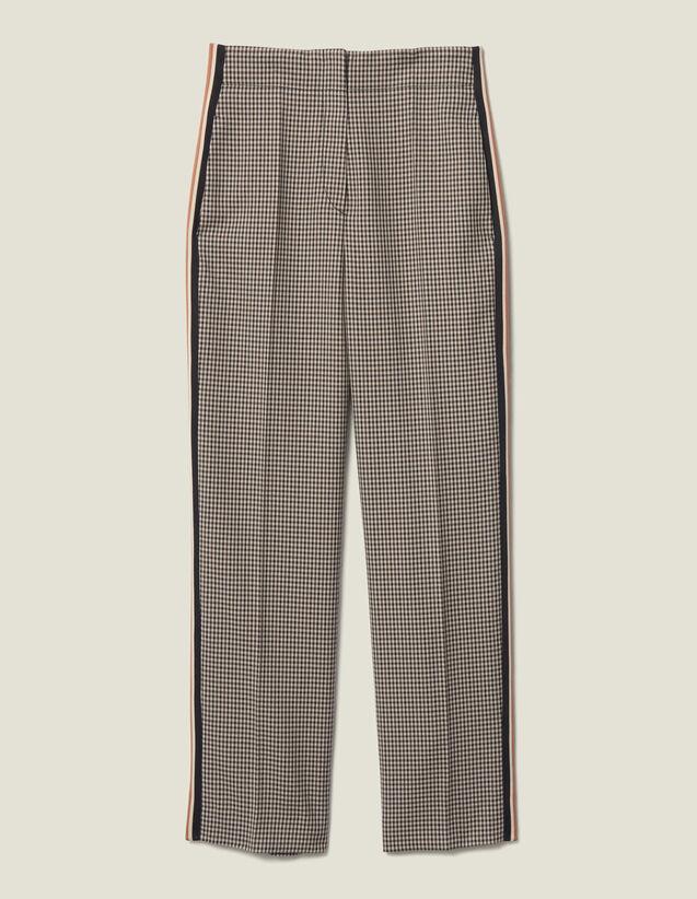 Pantalón recto de cuadros con pasamanos : FBlackFriday-FR-FSelection-30 color Marron