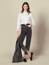 Camisa de jacquard con cuello con lazo : Tops & Camisas color Crudo
