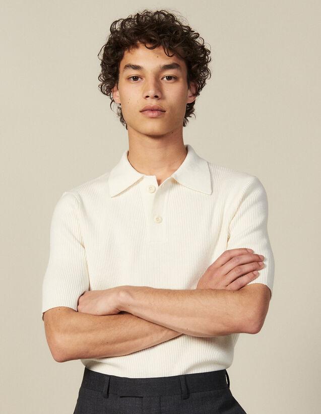 Jersey Cuello Estilo Polo De Punto Fino : Camisetas & Polos color Crudo