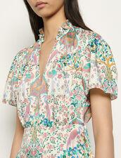 Vestido corto estampado con volantes : Vestidos color Marfil