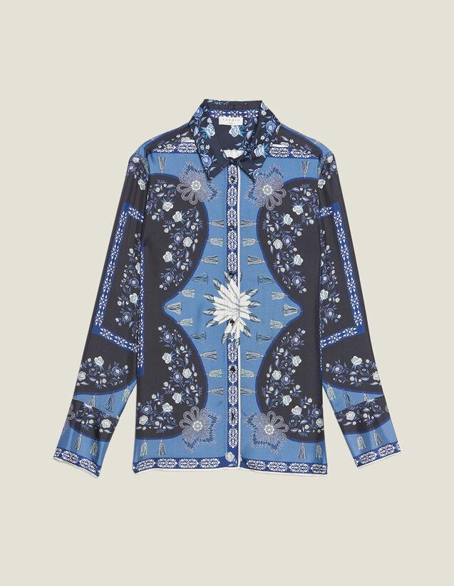 Camisa Fluida Estampada De Seda : null color Azul