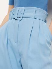 Pantalón ancho con cinturón : Pantalones color Ciel