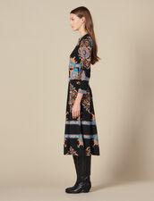 Vestido largo con estampado de fular : -40% color Negro