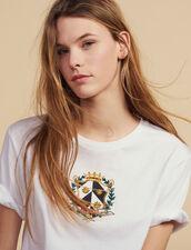 Camiseta Corta Con Bordado : null color Blanco