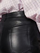 Pantalón de piel recto con cortes : FBlackFriday-FR-FSelection-30 color Negro