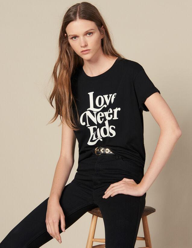 Camiseta Con Inscripción En Contraste : Camisetas color Negro