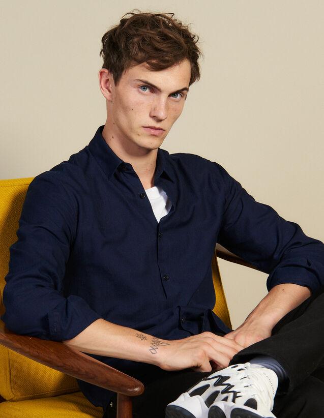 Camisa De Tejido Chevron Tono Sobre Tono : Camisas color Marino