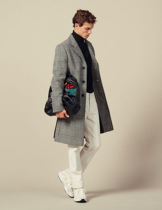 Abrigo recto Príncipe de Gales : Trenchs & Abrigos color Negro/Blanco