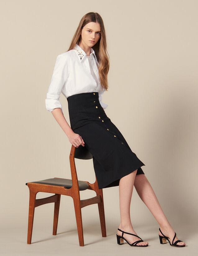 Falda Larga De Punto Ajustada : Faldas & Shorts color Negro