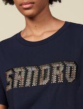 Camiseta inscripción bordada y tachuelas : Camisetas color Marino