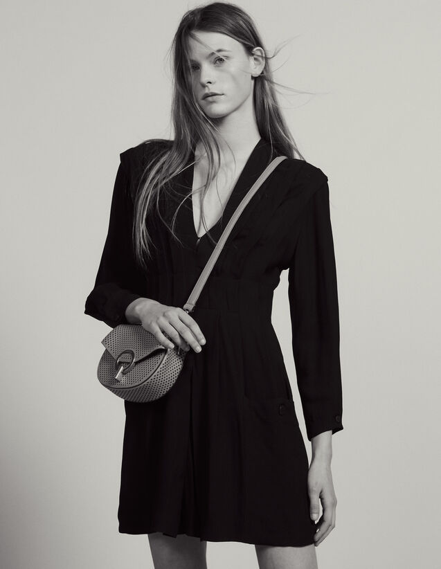 Vestido Corto Fluido, Adorno De Pliegues : LastChance-FR-FSelection color Negro