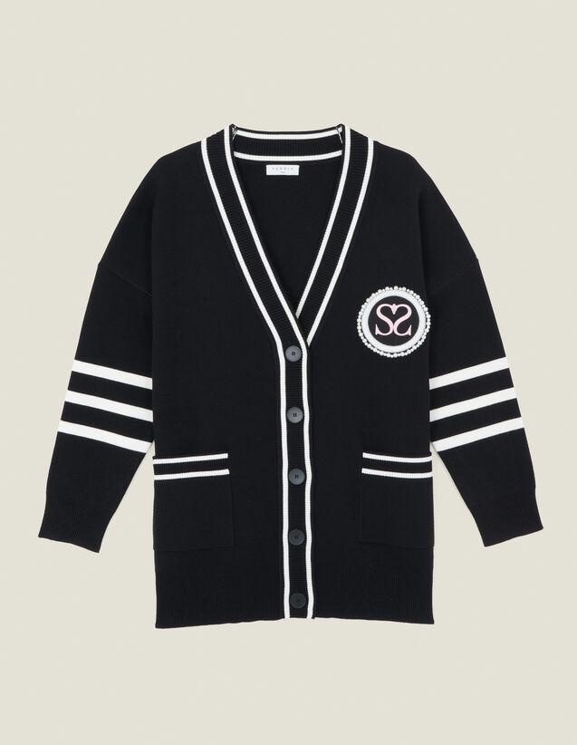 Cárdigan de rayas en contraste : Jerseys & Cárdigans color Negro