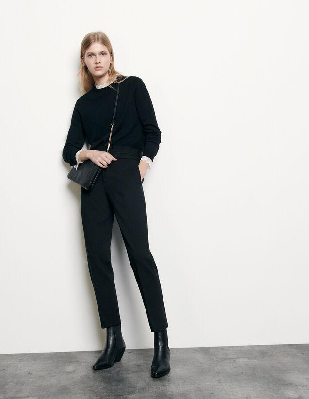 Pantalón clásico de talle alto : Pantalones color Negro