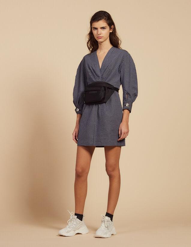 Vestido Corto De Rayas Finas : LastChance-FR-FSelection color Azul