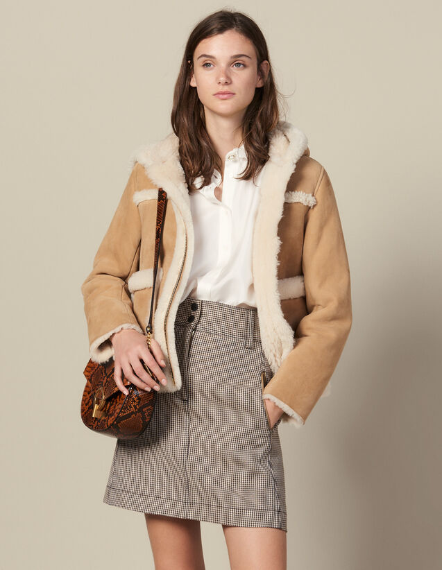 Falda Corta Trapecio De Pata De Gallo : FBlackFriday-FR-FSelection-Jupes&Shorts color Camel