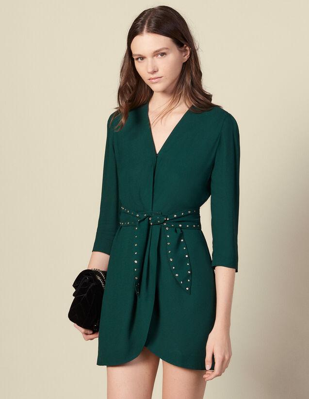 Vestido, hombro desnudo, cinturón strass : Vestidos color Verde