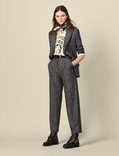 Pantalón ancho de cuadros : Pantalones color Gris