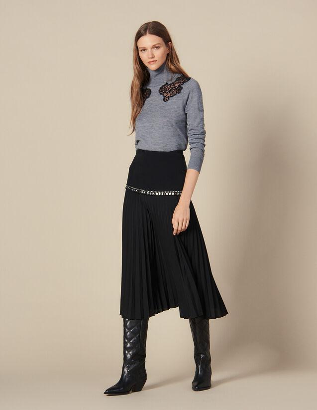 Falda Larga Cruzada Con Plisado : Faldas & Shorts color Negro