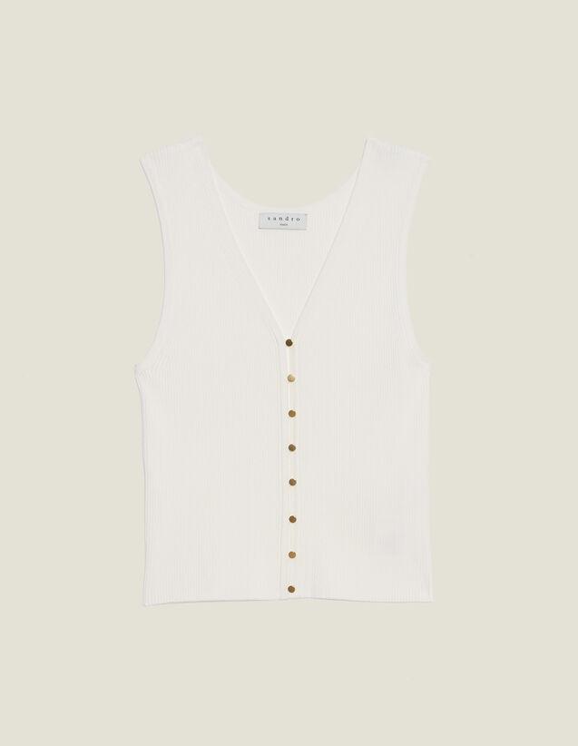 Top De Punto Con Botones Joya : Tops & Camisas color Blanco