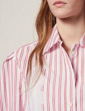 Camisa De Rayas Condetalle De Encaje : null color Rojo