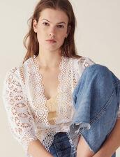 Camisa De Encaje Y Manga 3/4 : Tops & Camisas color Blanco