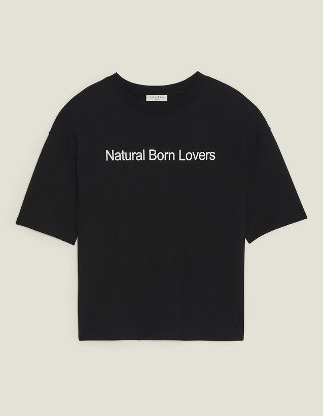 Camiseta Superancha Con Mensaje : Camisetas color Negro