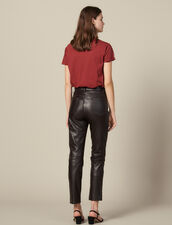 Pantalón de piel recto con cortes : FBlackFriday-FR-FSelection-30 color Marron