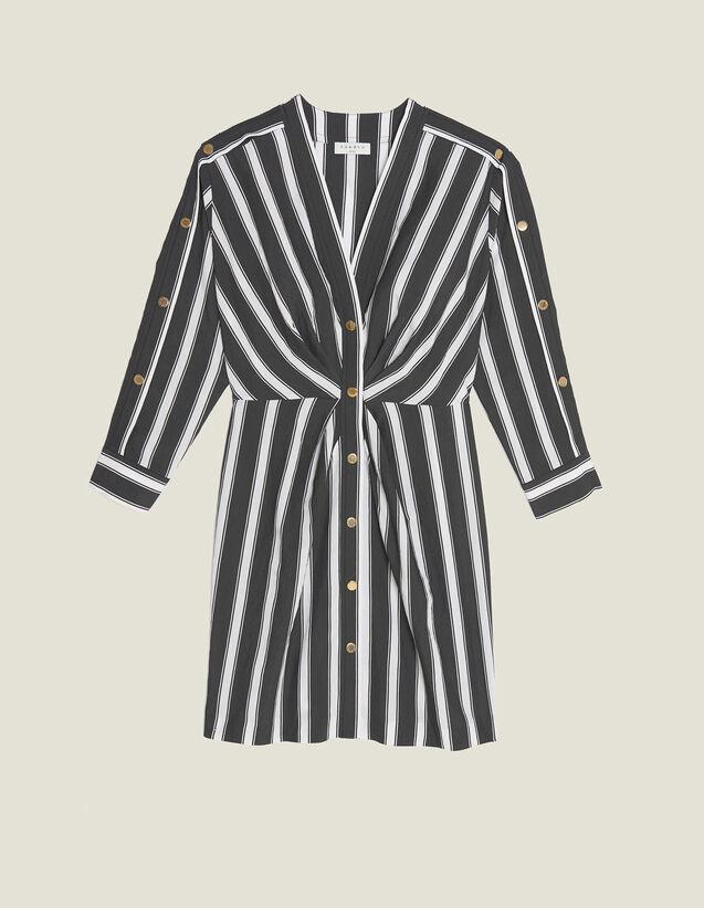Vestido Corto De Rayas Con Cuello En V : Vestidos color Negro