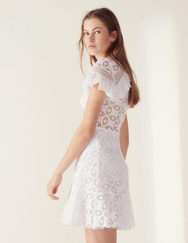Vestido De Encaje Con Volante : Vestidos color Blanco