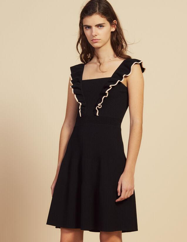 Vestido Corto Con Sisas Con Volantes : null color Negro