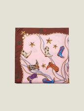 Fular de seda con estampado de botines : Toda la colección de Invierno color Rosa
