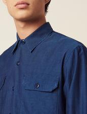 Camisa De Tela Fluida Con Chevrones : Camisas color Azul
