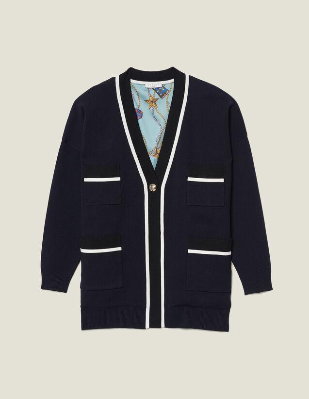 Cárdigan Oversized Con Forro Estampado : Jerseys & Cárdigans color Marino