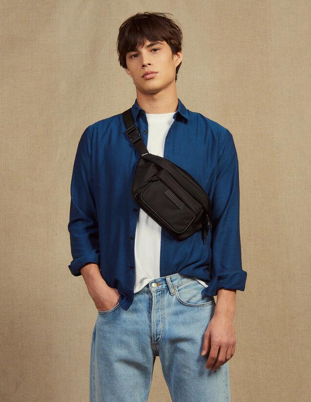 Camisa De Tejido Chevron Tono Sobre Tono : Camisas color Azul