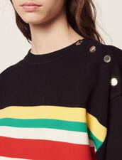 Jersey De Rayas Multicolores Y Mensaje : null color Negro