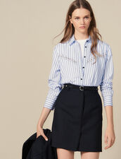 Falda Corta De Sastre De Rayas Finas : FBlackFriday-FR-FSelection-Jupes&Shorts color Negro