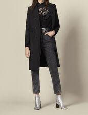 Abrigo largo ajustado de lana : Abrigos color Negro