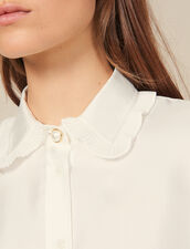 Camisa De Seda, Cuello Bordado Y Plisado : Novedades color Crudo