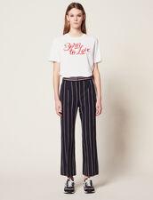 Pantalón De Rayas En Contraste : Pantalones color Marino