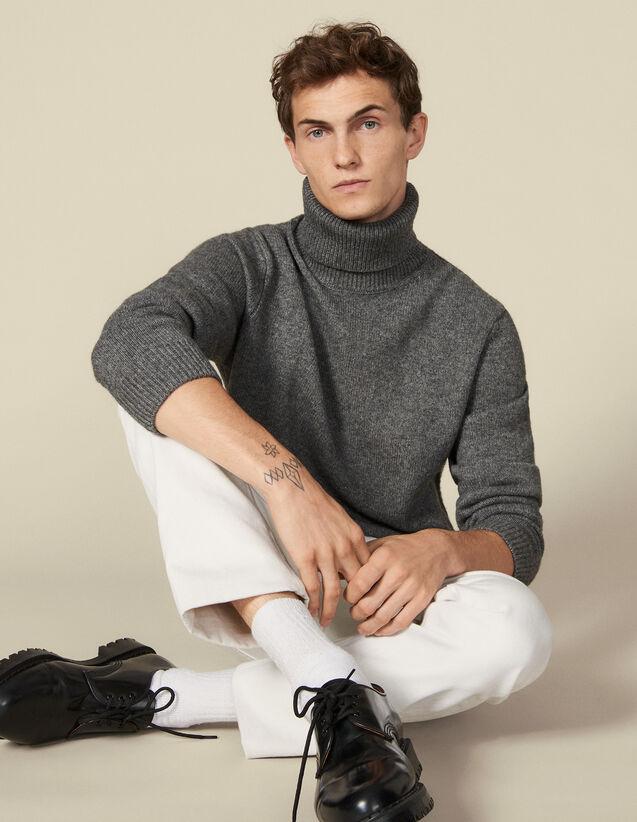Jersey cuello vuelto de lana y cachemira : Jerseys & Cárdigans color Antracita