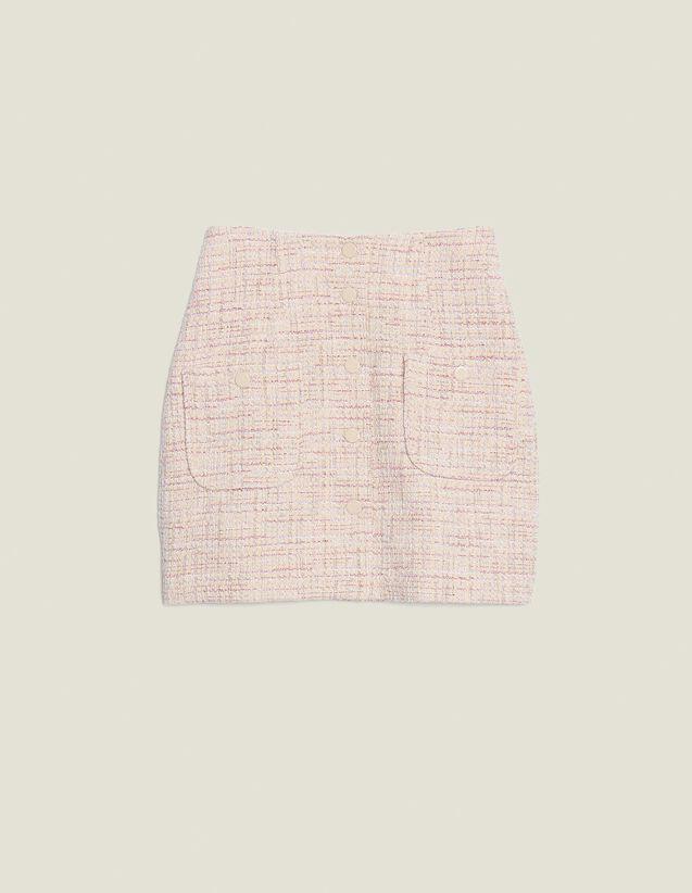 Falda Corta De Tweed : Faldas & Shorts color Rosa