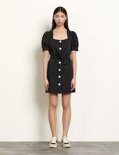 Vestido corto mezcla de lino anudable : Vestidos color Negro