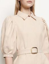 Vestido abrigo de algodón y lino : Vestidos color Beige