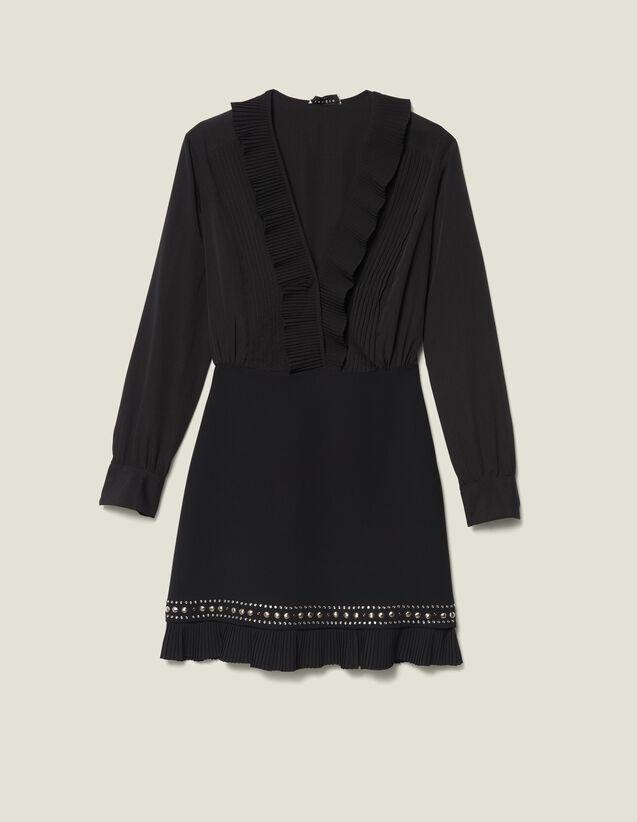 Vestido Corto Con Plisados Y Tachuelas : Vestidos color Negro