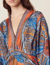 Vestido Largo Estampado De Seda : null color Multicolor